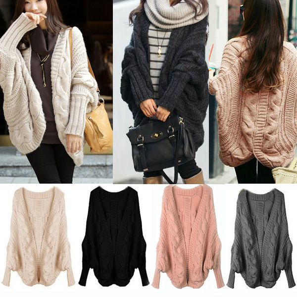 Hot Fashion Women Batwing Sleeve Slit Back Chunky Cardigan Wrap ...