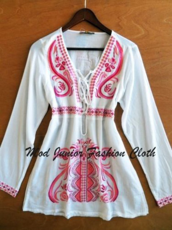 embroidered bohemian boho boho chic vintage wera vintage long sleeve shirt cover up swimwear summer love summer outfits mini dress long sleeve dress trendy trending fashion retro indie look indie hipster lace up dress lace up