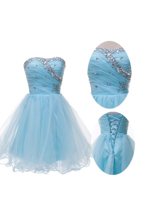 A-line Sweetheart Short/Mini Organza Light Sky Blue Cocktail Dress with Crystals NPD1042 Sale at Shopindress.com