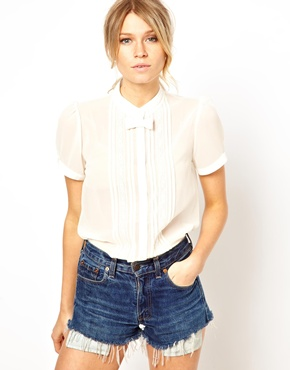 ASOS | ASOS Blouse With Lace Trim Placket And Bow Tie at ASOS