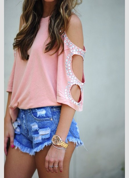 blouse cute shorts shirt pink glitter sparkle peach loose silver holes diamontes top pink top pink top    tank top diamonds studs studded top clothes ripped shorts cute top jewels fun outfit casual