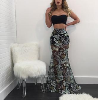 dress floral maxi dress maxi skirt bandeau top two piece dress set
