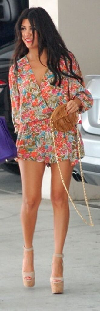 summer outfits floral shorts romper long sleeves floral jumper