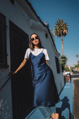 dress sunglasses tumblr blue dress navy navy dress slip dress t-shirt white t-shirt denim jeans blue jeans