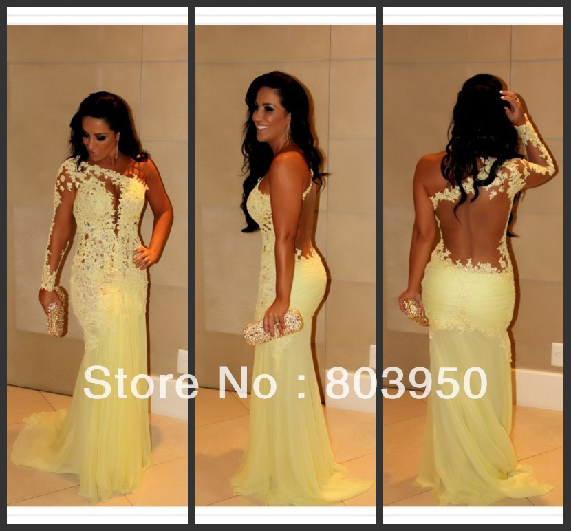 Aliexpress.com : Buy Real Sample Charming Yellow Back See Through Lace Mermaid Evening Dresses With One Long Sleeve Prom Dresses Chiffon DY0908 from Reliable Evening Dresses suppliers on Love Kiss Evening Dress and Wedding Dress Manufactory