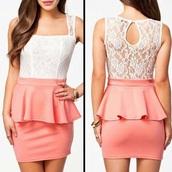 dress,white,pink,lace dress,lace top,peplum,peplum dress