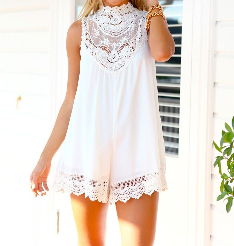 Paper heart dream catcher vintage lace jumpsuit white