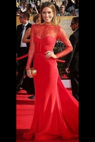 dress red dress celebrity style formal dress lace fishtail