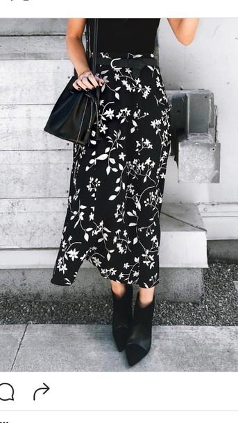 skirt black and white skirt midi skirt