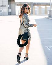 dress,tumblr,sequins,sequin dress,silver,silver dress,mini dress,open back,open back dresses,backless,backless dress,bag,black bag,sandals,sandal heels,high heel sandals,black sandals,sunglasses,new year dresses