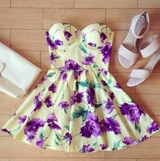 dress floral white wedding boho dress purple