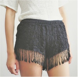 Online shop new 2014.flower pop lace fit tassels shorts women's summer sexy hollow out lace slim shorts beach holiday shorts.free shipping