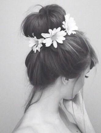 hair accessories headband floral daisy hair/makeup inspo
