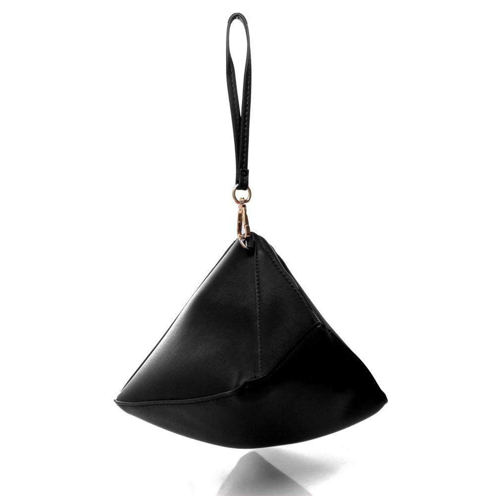 Black wristlet pyramid clutch bag
