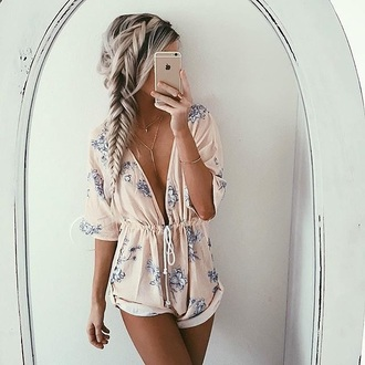 romper jumpsuit summer flowers musthave lowcut pink floral romper rose pink dress shorts short floral pastel long sleeves deep v plunge v neck blue white pattern lace cute girly summer outfits long sleeve romper baby pink light grey flowers low cut cinched waist drawstring waist light pink