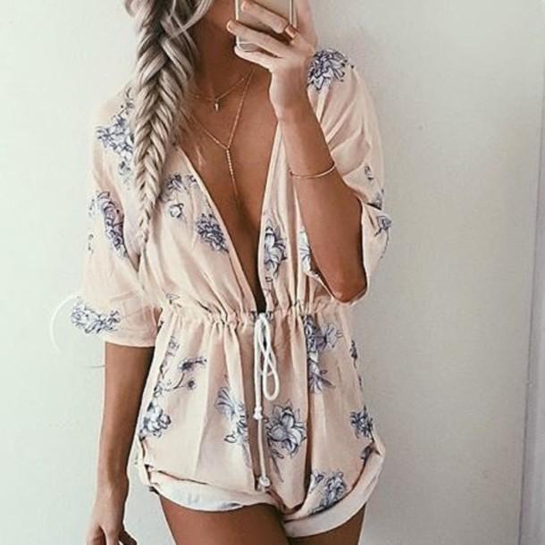 romper jumpsuit summer light grey flowers low cut cinched waist long sleeves short drawstring waist light pink floral romper pink