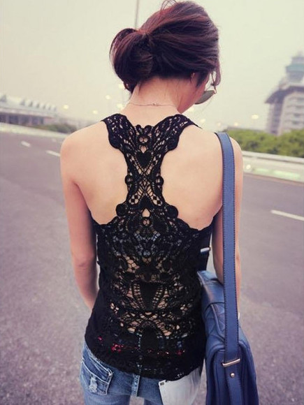streetstyle spring fashion black top vest lace fashion outfits