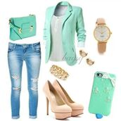 bag,shoes,jewels,coat,shirt,jeans,jacket,mint,blazer