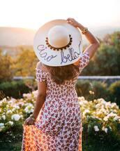 hat,dress,tumblr,sun hat,customized beach hat,floral,floral dress,off the shoulder,off the shoulder dress