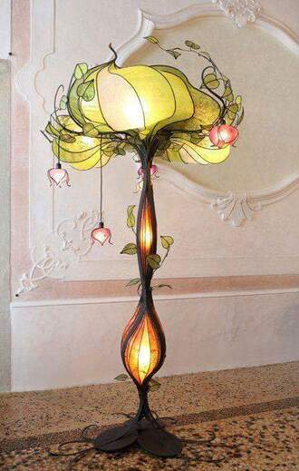home accessory lamp retro plants art deco vintage decor art nouveau lamp