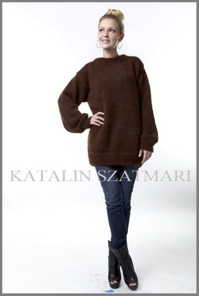 sweater brown sweater knitted sweater hand made sweater winter warm sweater man's sweater crew-neck sweater women women's sweater mohair sweater angora sweater fuzzy sweater