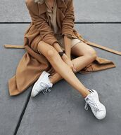 coat,camel coat,winter coat,nude dress