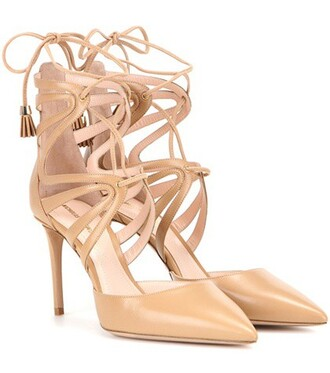 sandals lace leather beige shoes