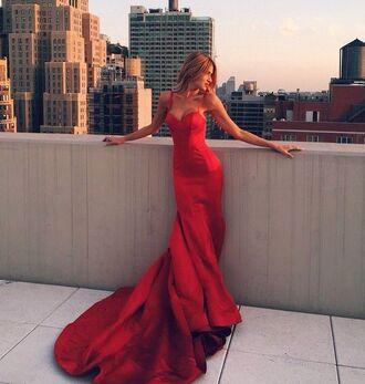dress prom fishtail red hot long maxi prom dress sleveless strapless red prom dress homecoming dress long dress mermaid prom dress