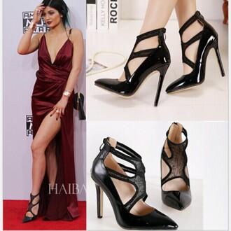 shoes dress kylie jenner kylie jenner black heels black heels pumps