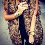 jacket,fur vest,jewels,coat,faux fur vest,sleeveless,faux fur jacket