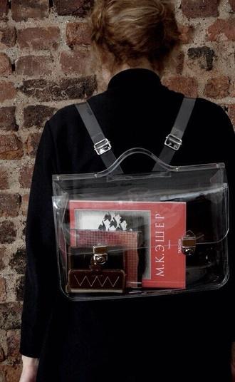 bag backpack see through satchel bag plastic hipster wishlist