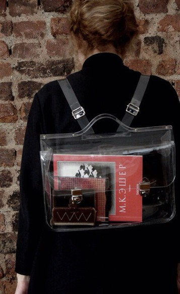 bag satchel backpack clear see through