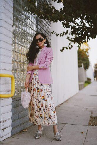 hallie daily blogger jacket skirt top shoes sunglasses jewels bag blazer pink jacket pleated skirt pumps
