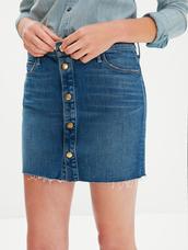 skirt,button up denim skirt,frayed denim