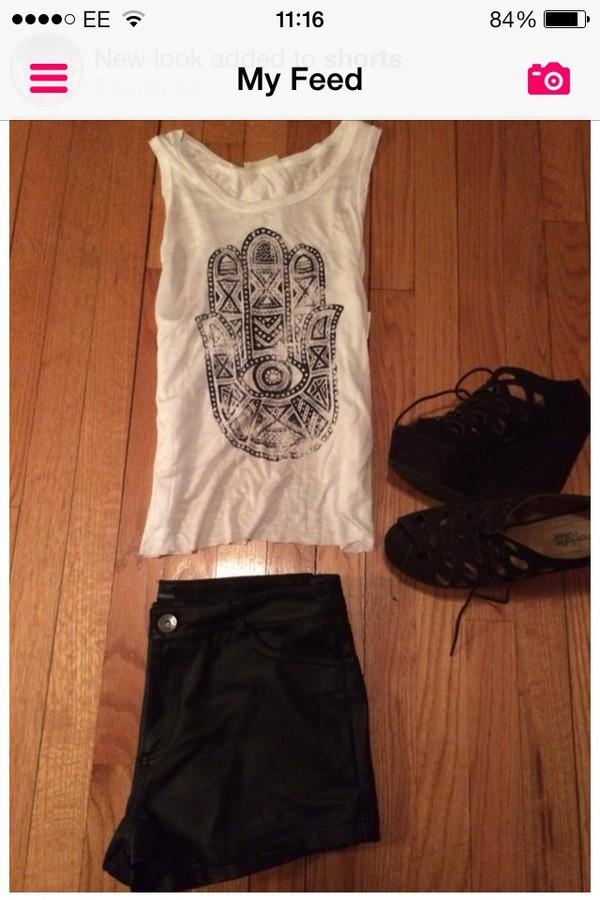 t-shirt white aztec tribal pattern shorts shoes