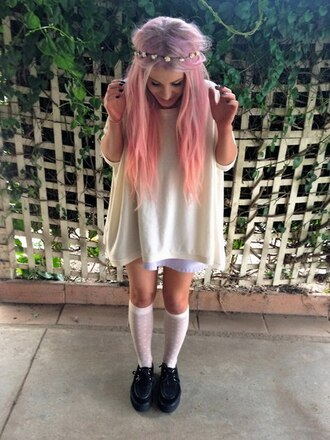 dress pink lilac lavender hair white creepers choies.com pastel hair pink hair hair accessory blouse loose loose dress shoes black creepers