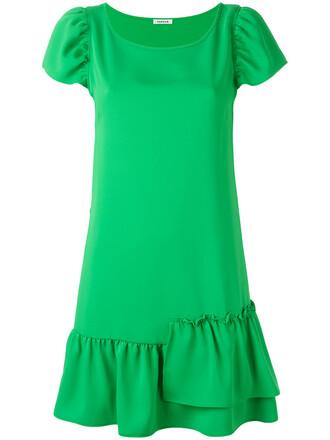 dress shift dress ruffle women green