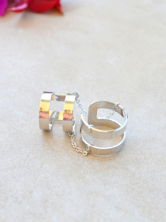 jewels ring silver silver ring double ring double rings band ring chain ring minimalist jewelry