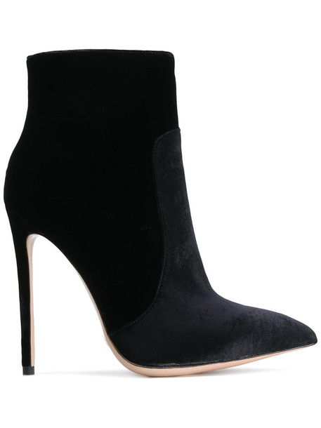 women ankle boots leather black velvet shoes