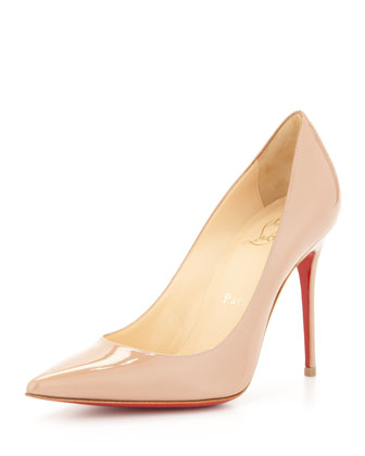 Christian Louboutin Decollete Patent Leather Red Sole Pump, Nude - Neiman Marcus