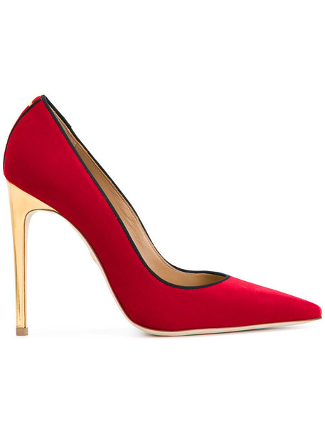 women classic pumps leather velvet red shoes