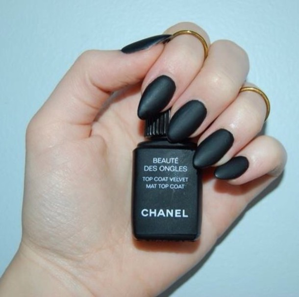 nail polish, chanel, top coat mat, nail polish, nails, black, make ...