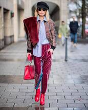 pants,tumblr,streetstyle,velvet,velvet pants,pink pants,boots,red boots,ankle boots,scarf,fur scarf,jacket,bomber jacket,bag,hat