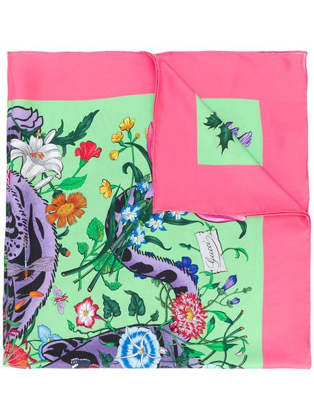 gucci women tiger tiger print scarf floral print silk green