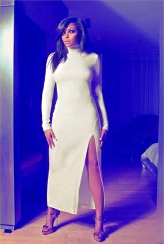 dress white dress turtleneckdress long sleeves long dress