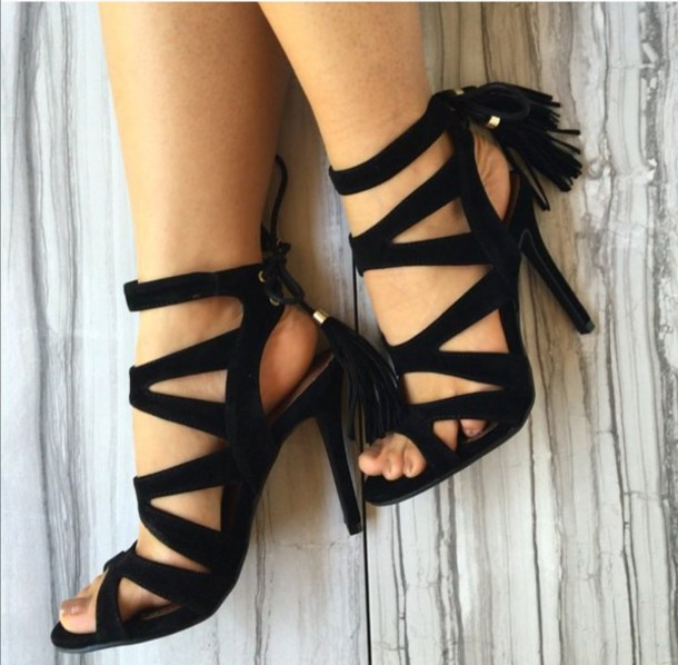 shoes vegan suede open toes high heel all black everything tassle sandals strappy heels lace up heels stilettos
