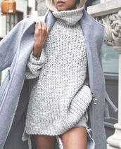 coat,grey,knit,fall outfits,winter outfits,blonde hair,dress,wool,button,turtleneck,effortless winter sweater,sweater