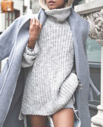 coat grey knit fall outfits winter outfits blonde hair dress wool button turtleneck effortless winter sweater sweater