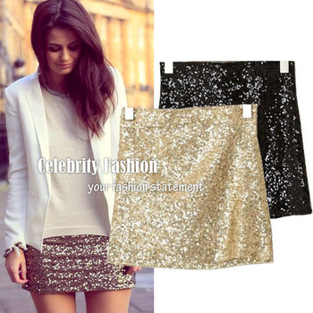 SK32 Celebrity Style Women High Waisted Shinny Sparkle Sequin Sequimed Metallic Bodycon Mini Party Skirt Black Glod Free Shippig-in Skirts from Apparel & Accessories on Aliexpress.com