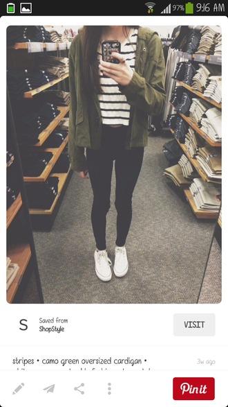 jacket green jacket black and white striped shirt black jeans white converse